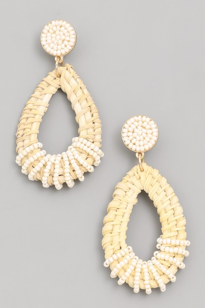 Straw Braid Drop Earrings - orangeshine.com