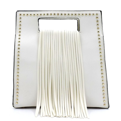 Fashion Fringe Studded Satchel - orangeshine.com