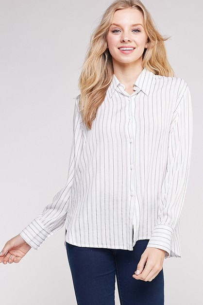 Stripe Button Down Shirt  - orangeshine.com