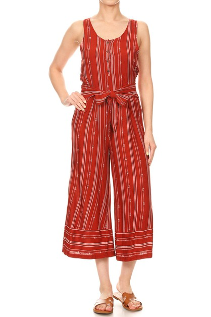 Crop Wide Leg Jumpsuits Boho Stripes - orangeshine.com