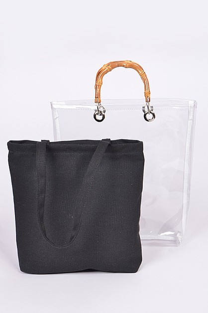 Bamboo Iconic Top Handle Clear Tote  - orangeshine.com