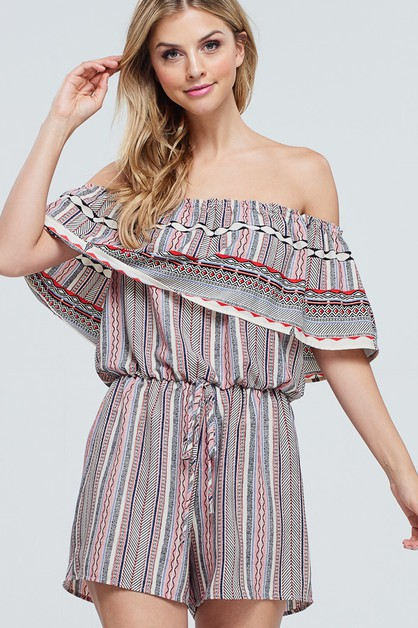 Off The Shoulder Woven Romper - orangeshine.com