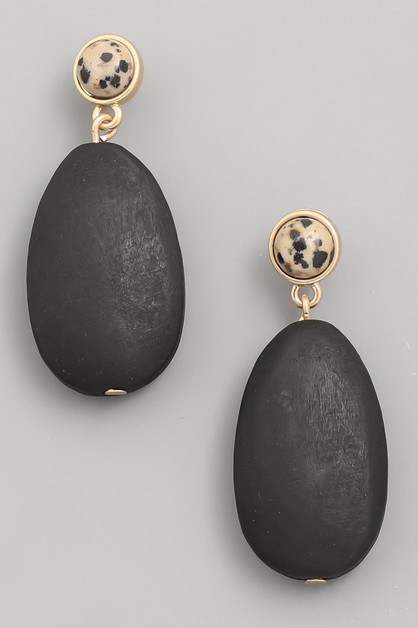 Wooden Oval Drop Earrings - orangeshine.com