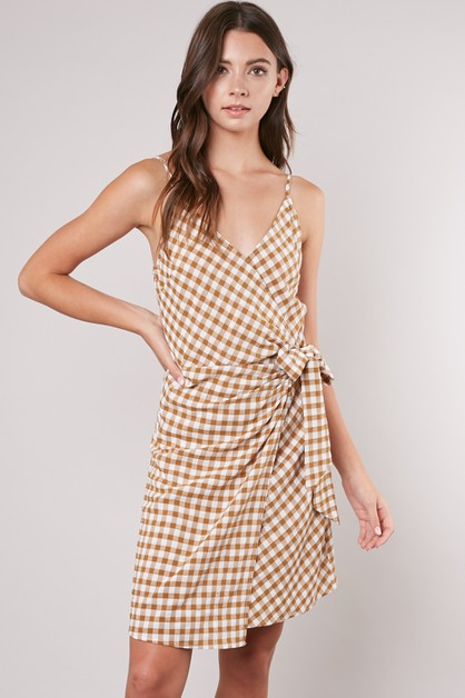 CAMI MINI WRAP DRESS - orangeshine.com
