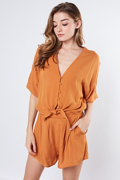 BELTED BUTTON FRONT ROMPER - orangeshine.com