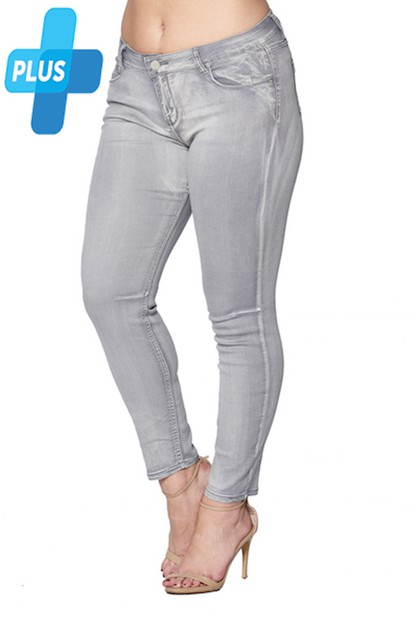 Plus size Skinny Jeans - Grey Denim - orangeshine.com