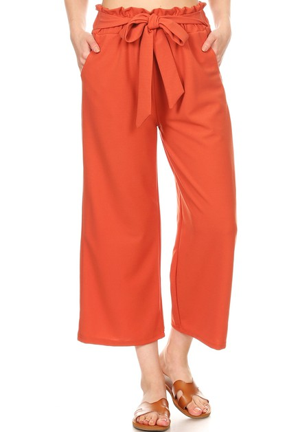 Knit Crop Paper Bag Waist Pants boho - orangeshine.com