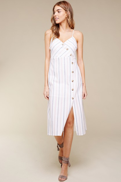 COTTON STRIPE BUTTON DOWN MIDI DRESS - orangeshine.com