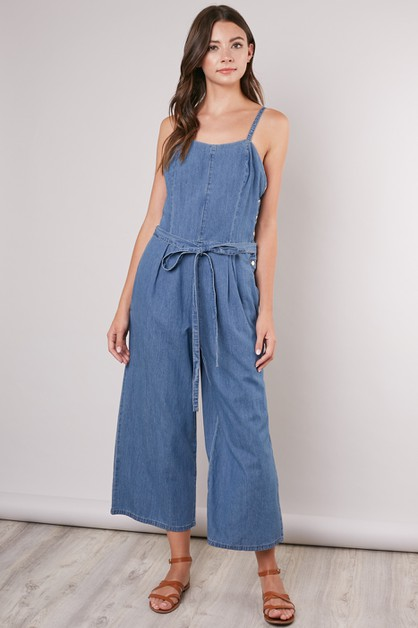 WIDE-LEG DENIM OVERALLS - orangeshine.com