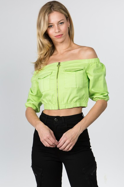 OFF SHOULDER CROPPED JACKET - orangeshine.com