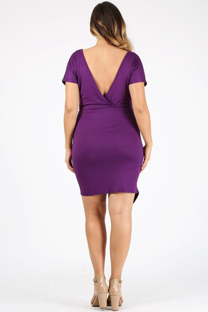 Plus Size Bodycon Soild Midi Dress - orangeshine.com