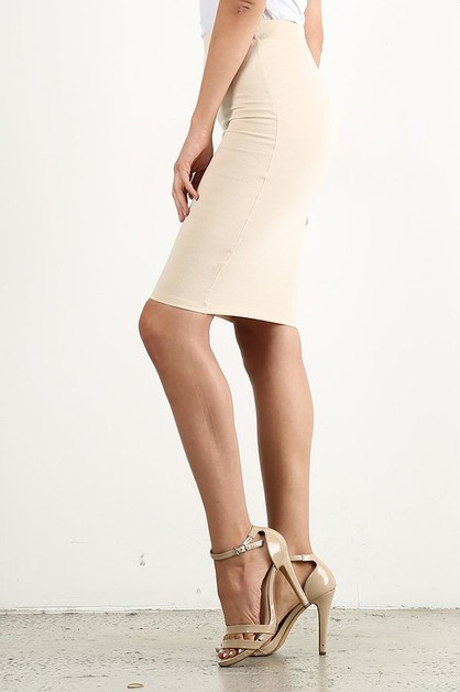 Natural Tone Pencil Skirt - orangeshine.com