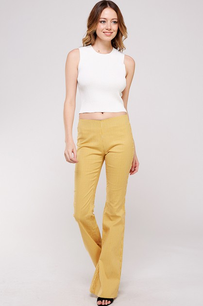 NKP305407 -STRIPED BELL BOTTOM PANTS - orangeshine.com