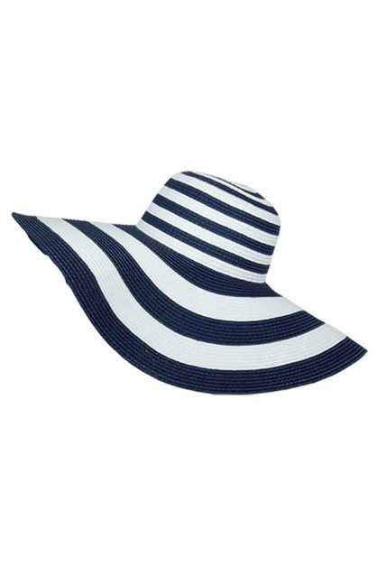 Big Brim Striped Floppy Hat  Straw - orangeshine.com