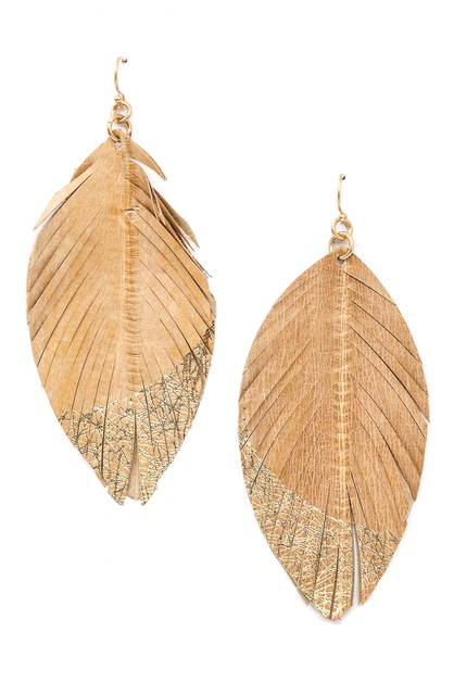 Genuine Leather Leaf Drop Earrings - orangeshine.com