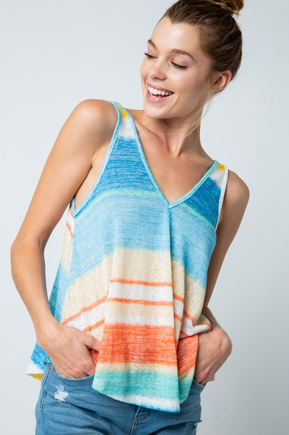 COLOR BLOCK STRIPE V NECK TANK TOP - orangeshine.com
