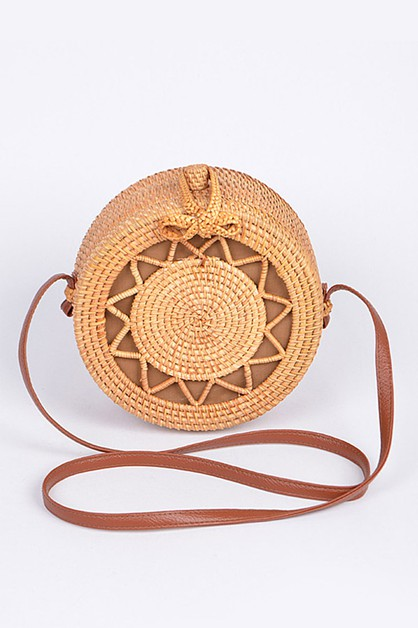 Bamboo Weaved Circle Box Bag - orangeshine.com