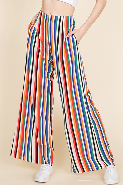 MULTI STRIPED WIDE LEG PANTS - orangeshine.com