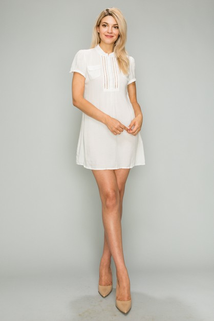WOVEN Button Up Short Dress - orangeshine.com