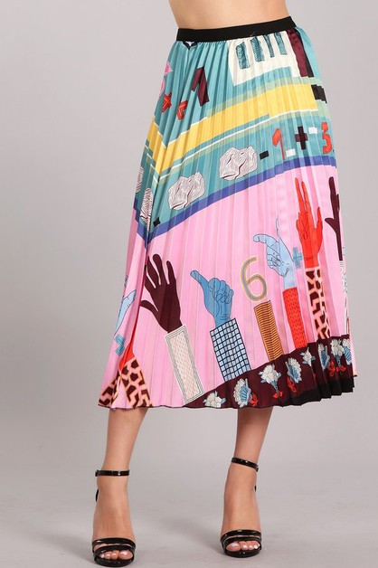 Colorful Printed Skirt - orangeshine.com