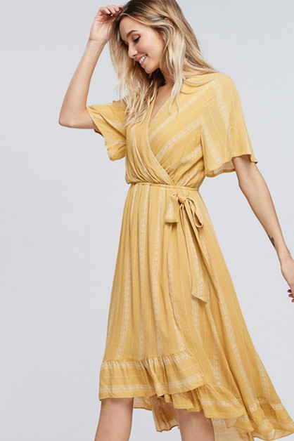 RUFFLED MIDI DRESS WITH BELT TIE - orangeshine.com