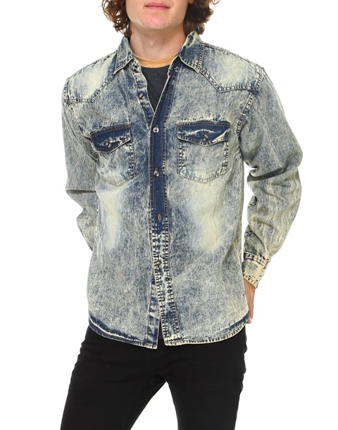 HAWKS BAY ACID WASH DENIM SHIRT - orangeshine.com
