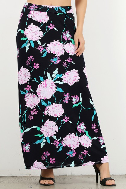 High waisted floral maxi skirt - orangeshine.com