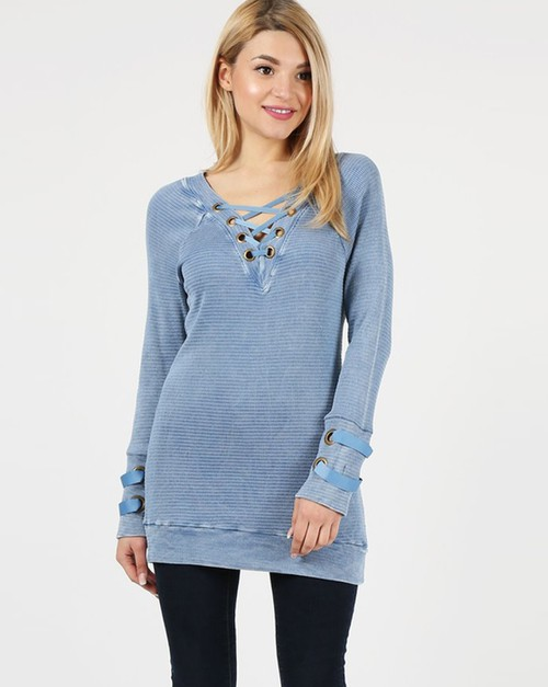 Lace-up V-neck Tunic - orangeshine.com