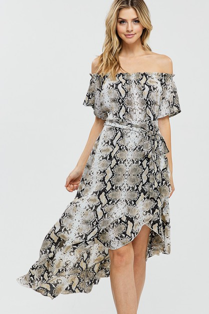 Snake Print Woven Dress - orangeshine.com