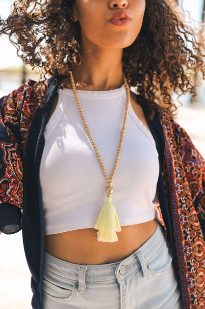 Bohemia Beaded Tassel Necklace - orangeshine.com
