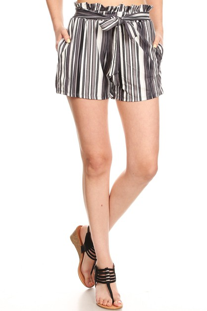 Boho Paper Bag Waist Shorts Stripes - orangeshine.com