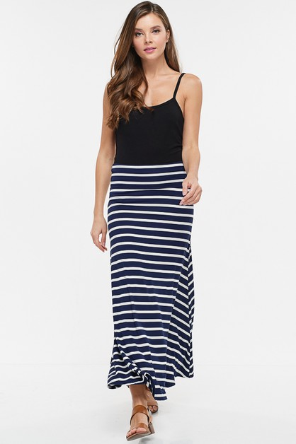 Striped Knit Maxi Skirt - orangeshine.com