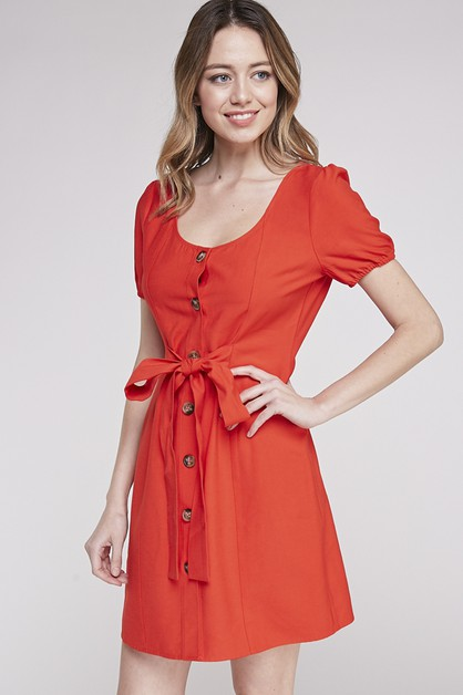 BUTTON DOWN MIDI DRESS WITH TIE FRON - orangeshine.com