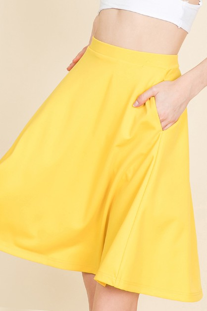 SIDE POCKETS SOLID FLARED SKIRT - orangeshine.com