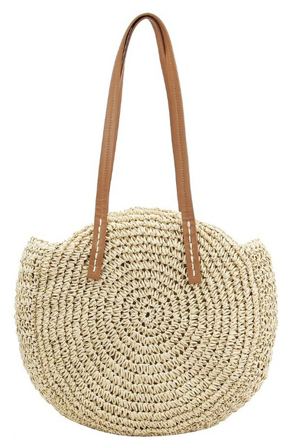 STYLISH NATURAL WOVEN ROUND TOTE BAG - orangeshine.com