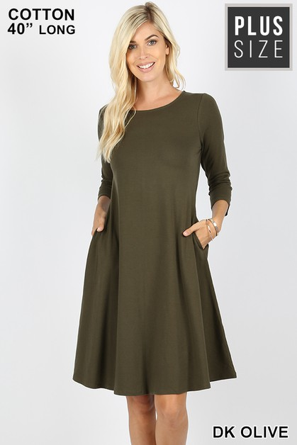 PLUS CLASSIC A-LINE POCKETS DRESS - orangeshine.com