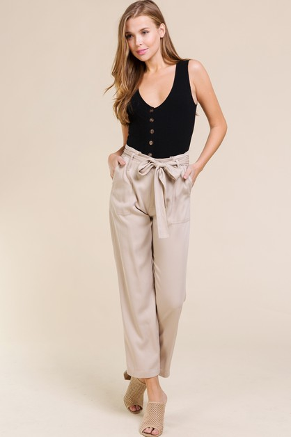 RAYON TWILL BELTED PANTS WITH POCKET - orangeshine.com