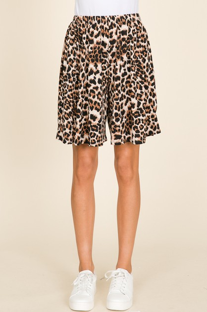 ELASTIC WAISTBAND ANIMAL PRINT SHORT - orangeshine.com