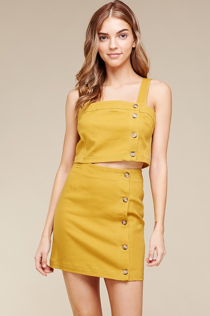 BUTTON-DOWN COTTON TWILL MINI SKIRT  - orangeshine.com