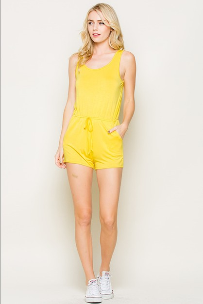 Sleeveless Scoop Neck Rompers - orangeshine.com
