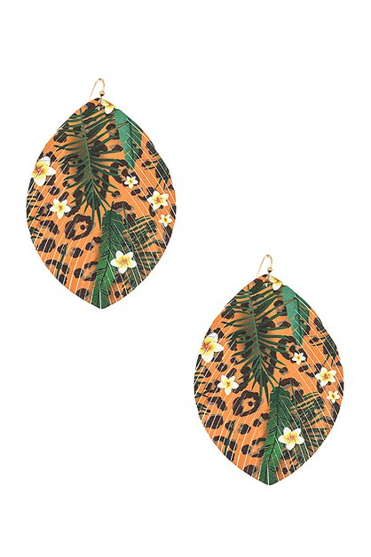 MIX PRINT LEAF CUT SHAPE EARRING  CA - orangeshine.com