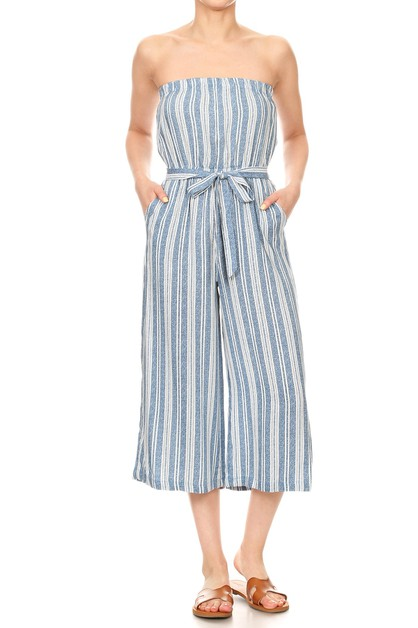 Stripes Tube Jumpsuits Wide Legs  - orangeshine.com