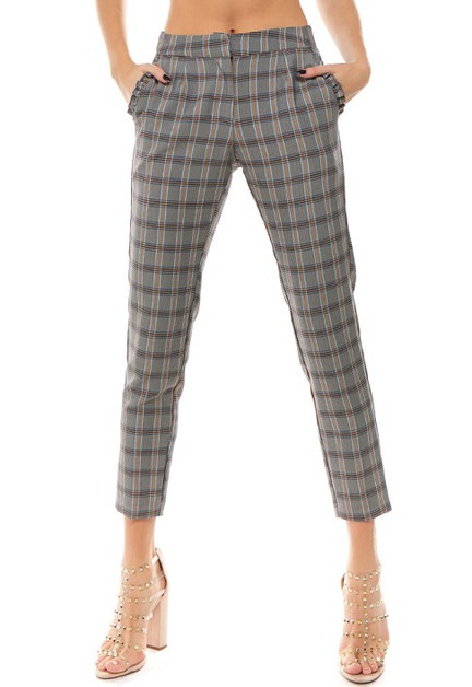 Plaid Slim-Fit Ankle Pants Ruffle - orangeshine.com