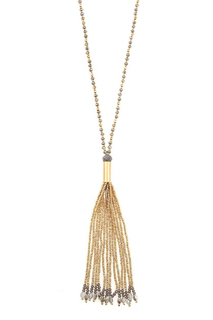 GLASS BEAD LONG TASSEL NECKLACE SET - orangeshine.com