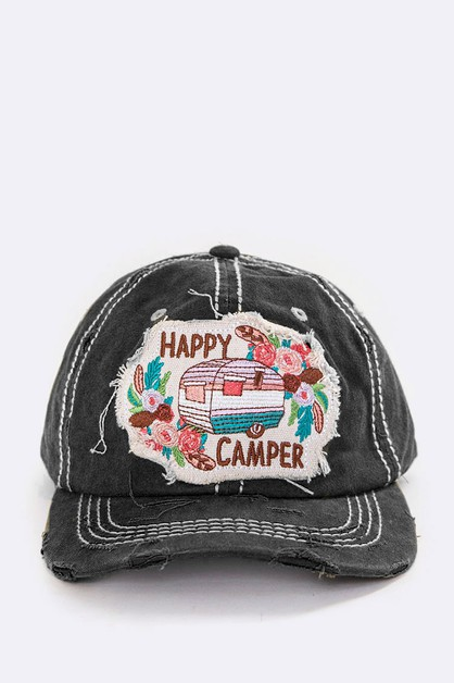 Happy Camper Embroidered Vintage Cap - orangeshine.com