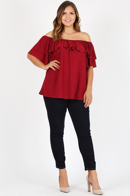 Plus Size Off Shoulder Solid  - orangeshine.com