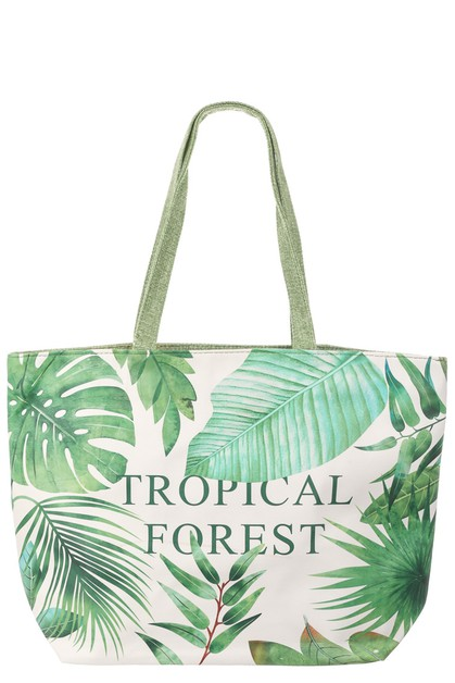Tropical Forest Print Tote Bag - orangeshine.com