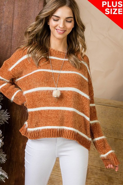 Striped Super Soft PLUS SIZE Sweater - orangeshine.com