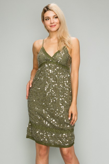 GARMENT DYED FULL SEQUIN DRESS - orangeshine.com