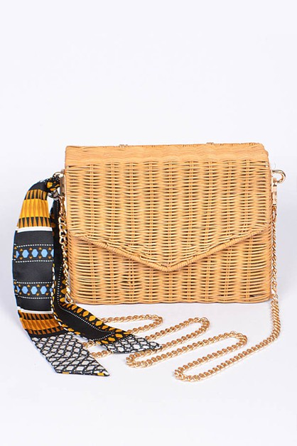 Bamboo Weaved Box Clutch Swing Bag - orangeshine.com